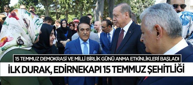 Erdoğan'dan ilk ziyaret 15 Temmuz Şehitliği'ne