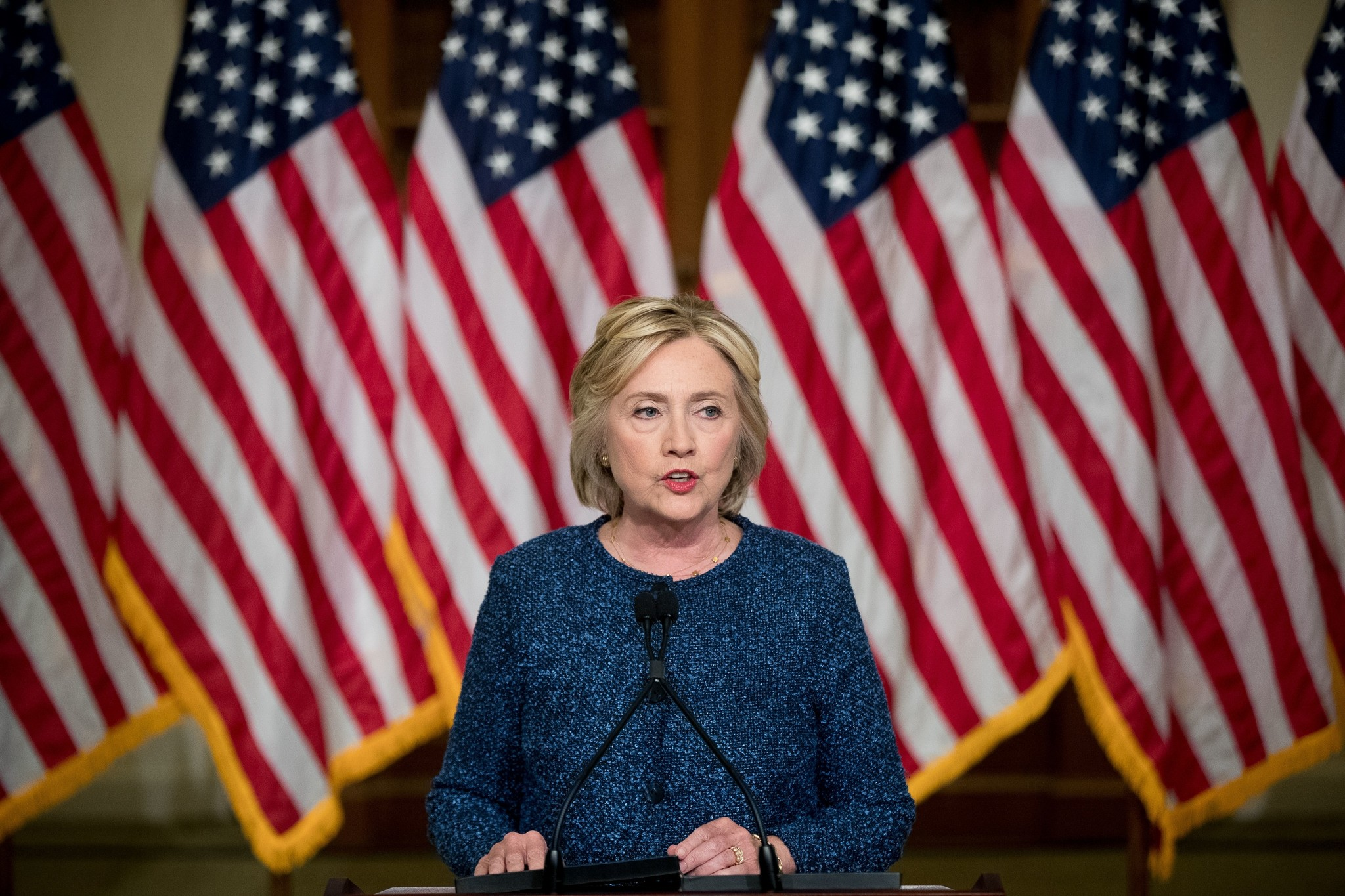 Hillary Clinton gives a statement after attending a National Security working session at the Historical Society Library, in New York, Sept. 9, 2016. (AP Photo)