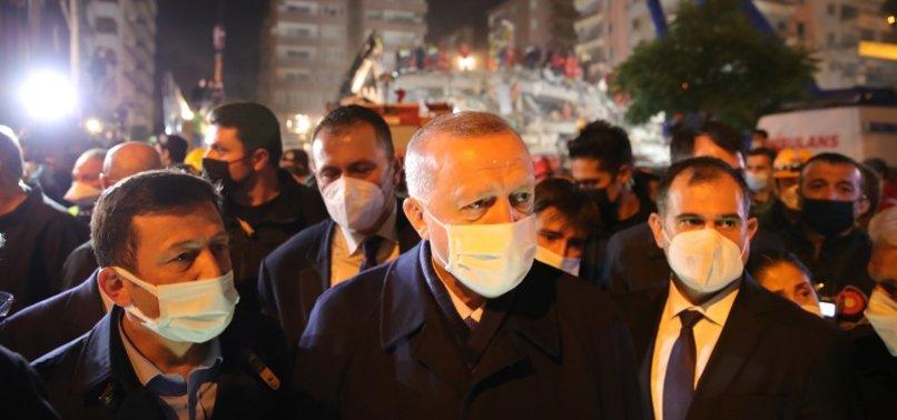 TURKEYS ERDOĞAN INSPECTS EARTHQUAKE-HIT AREAS IN AEGEAN PROVINCE OF IZMIR