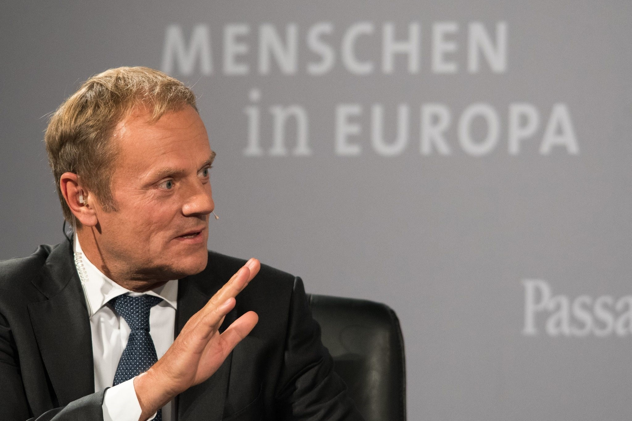 President of EU Council Donald Tusk speaks on October 10, 2016  in Passau during a conference titled People in Europe. (EPA Photo)