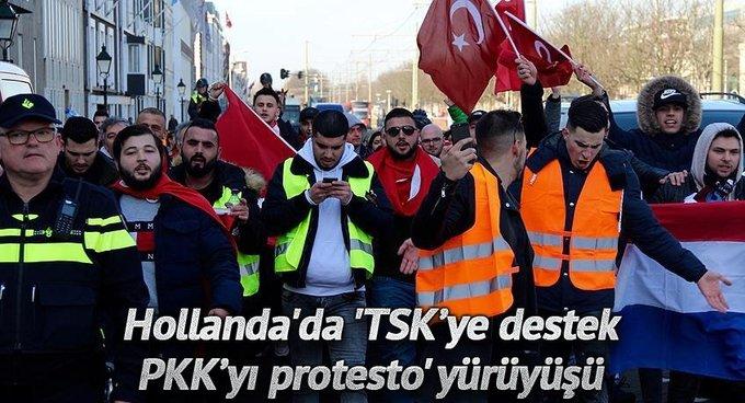 Hollandada TSK'ye destek, PKK'yı protesto yürüyüşü