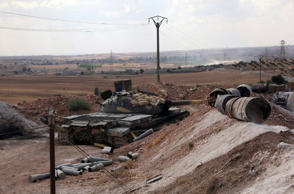 Assadu2019s army tank was seen on Sept. 4 at a location on the southern outskirts of the Syrian city of Aleppo after Syrian regime forces retook control of three military academies from the opposition.