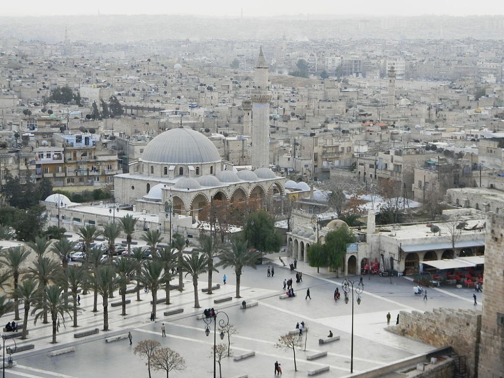 The Khusruwiyah Mosque in Aleppo before the war. The mosque was designed by Ottoman court architect Mimar Sinan and destroyed in 2014.