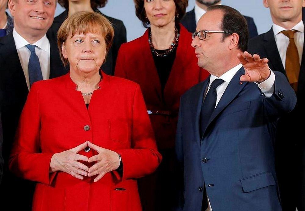 German Chancellor Angela Merkel and French President Francois Hollande.