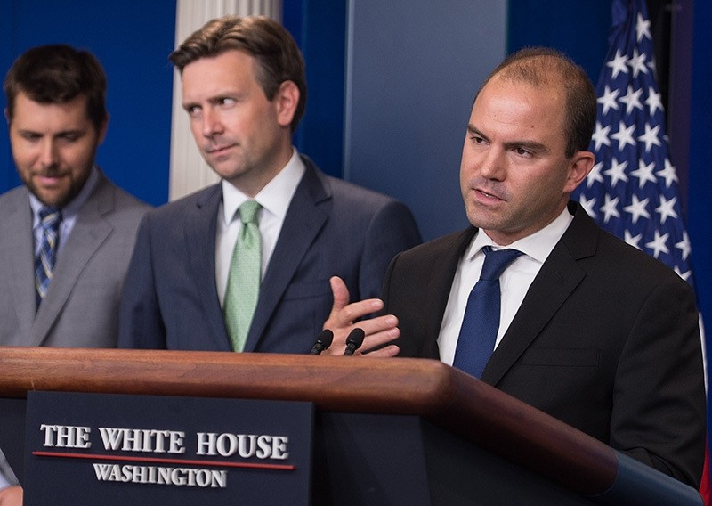 US Deputy National Security Advisor for Strategic Communications Ben Rhodes (R) speaks during the daily briefing  (AFP Photo)