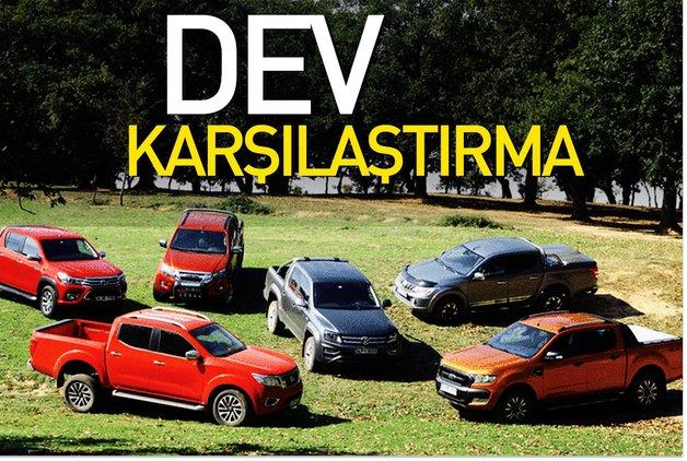 KARŞILAŞTIRMA · Ford Ranger, Isuzu D-Max, Mitsubishi L200, Nissan Navara, Toyota Hilux,VW Amarok