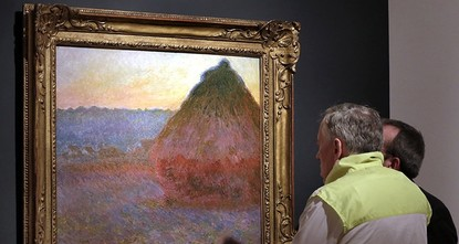 pA painting from Claude Monet's acclaimed Grainstack series has fetched $81.4 million at Christie's New York auction of impressionist and modern art./p  pWednesday evening's sale set a new...