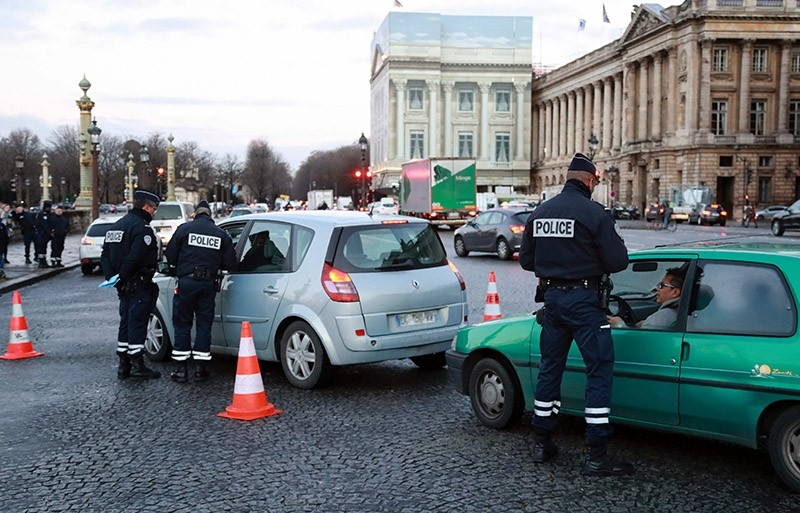 In this file photo, French policemen control driver on Jan. 10, 2016 in Paris. (AFP Photo)