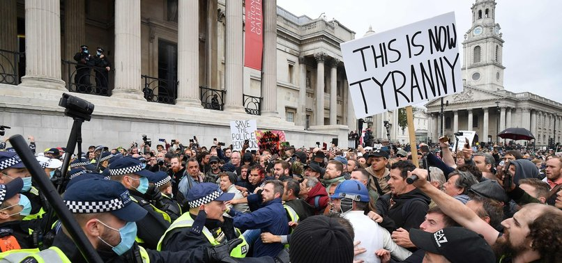 THOUSANDS PROTEST COVID-19 RESTRICTIONS IN CENTRAL LONDON