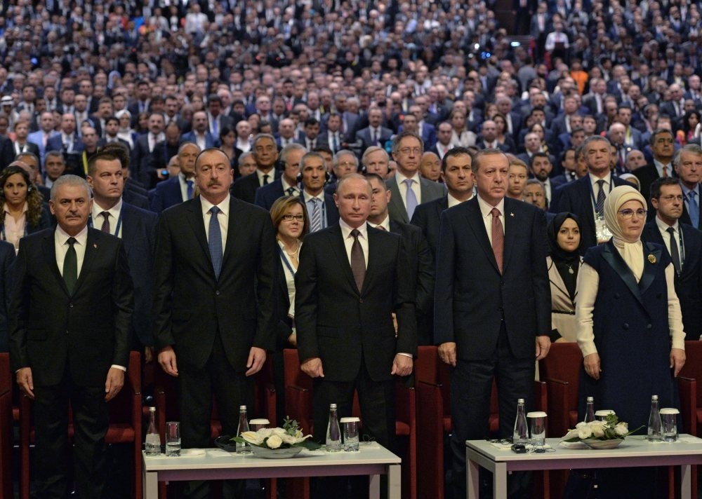 President Recep Tayyip Erdou011fan, President Vladimir Putin and Azerbaijan's President Ilham Aliev attend a session of the World Energy Congress, in Istanbul.