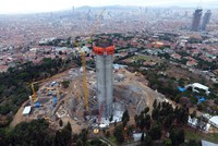 Istanbul will have a new landmark next summer as Çamlıca TV tower on the city's Asian side rapidly rises on the eponymous hill overlooking the Bosporus. Workers completed work on 95 meters of the...