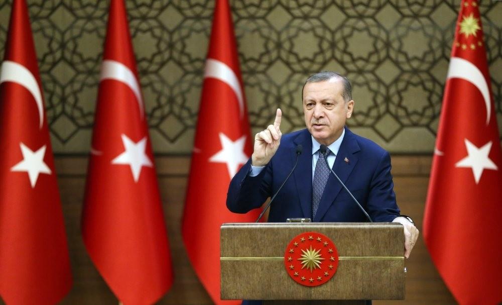 President Recep Tayyip Erdou011fan speaks at the 32nd Mukhtars meeting in Ankara, Turkey yesterday.