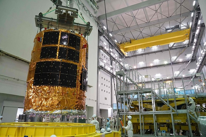 The unmanned cargo spacecraft, ,Kounotori,, is being assembled at the Tanegashima Space Center in Tanegashima island, Kagoshima prefecture on 6 July 2016. (AFP Photo)