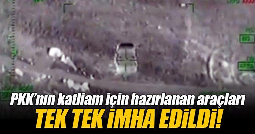 Bomba yüklü araçlar helikopter ile vuruldu