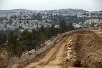 Housing construction is underway on the outskirts of the disputed Israeli settlement of Ramat Shlomo, 23 Dec 2016. (EPA Photo)