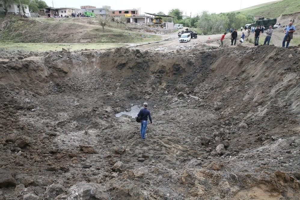 A 20-meter-wide and 7-meter-deep crater formed after 15 tons of explosives detonated during a PKK truck bombing