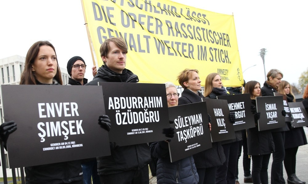 Activists hold banners with the names of the NSU victims during a rally outside the Interior Ministry on Friday.