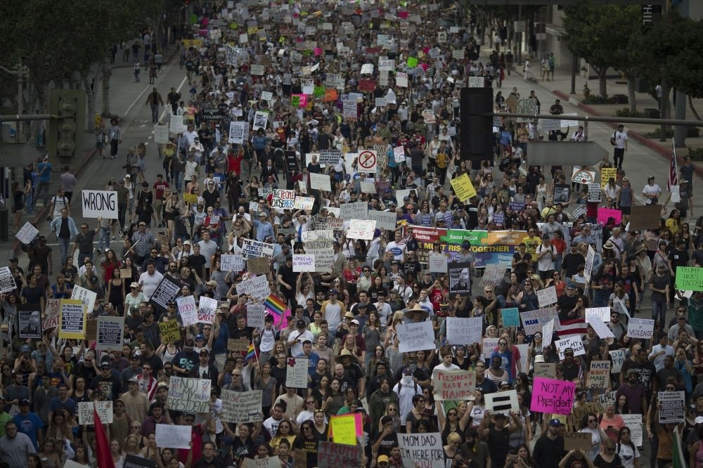 Thousands of protesters marching in reaction to the election of Republican Donald Trump, Nov. 12, 2016 in Los Angeles, California.