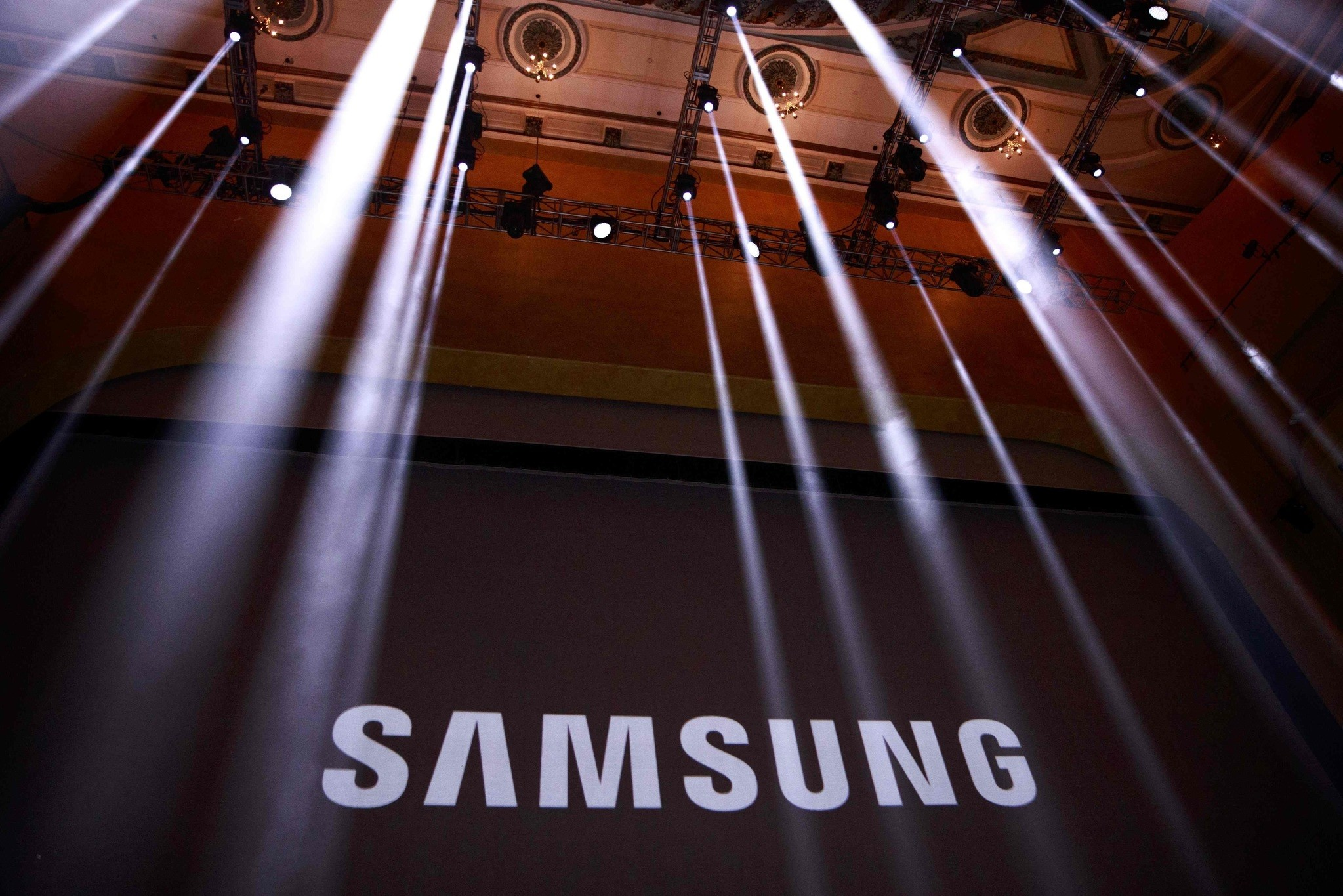 This file photo taken on August 1, 2016 shows the Samsung logo displayed on a screen prior to the start of a launch event for the Samsung Galaxy Note 7. (AFP Photo)