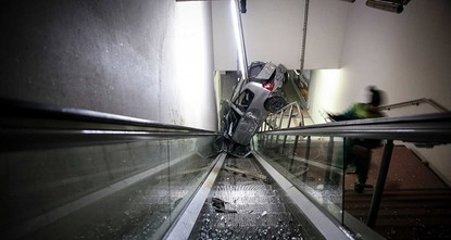pA speeding car has landed on the escalators of a metro station after colliding with roadside barriers in Turkey's northwestern province of Bursa early on Sunday./p  pThe accident occurred at...