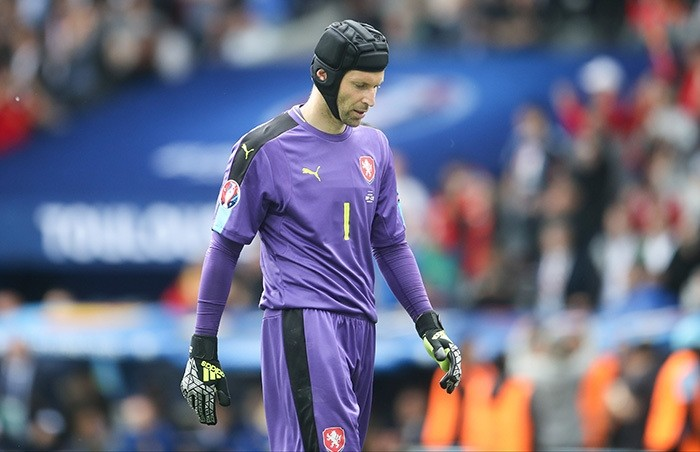 In this Monday, June 13, 2016 file photo, Czech Republic's goalkeeper Petr Cech reacts after Spain scored a goal during the Euro 2016 Group D soccer match between Spain and the Czech Republic at the Stadium municipal in Toulouse, France. (AP Photo)