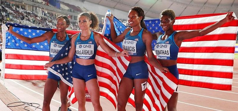 US USES 2 HURDLERS TO DOMINATE 4X400 RELAY