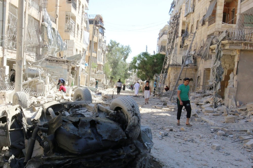 Rebel held area of al-Kalaseh neighbourhood of Aleppo where regime and Syria have intensified airstrikes since Kerry-Lavrov ceasefire deal failed.