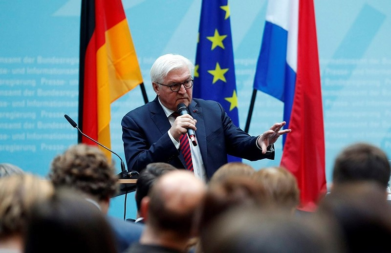 German Foreign Minister Frank-Walter Steinmeier speaks at the opening of the 14th German-Dutch Forum in the Federal Press Office in Berlin, Germany on Jan. 17, 2017. (EPA Photo)