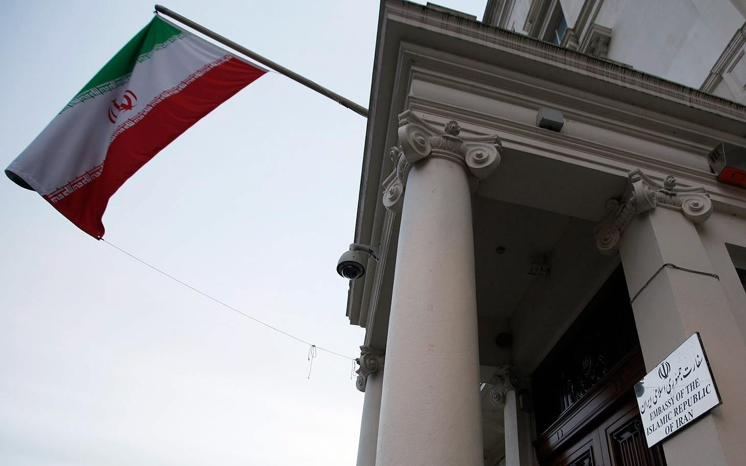the Iranian flag flies outside the Iranian embassy in London in December 2011. (AP Photo)