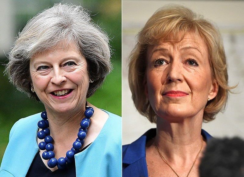 In this combination of file pictures, Theresa May (L) arrives to attend a cabinet meeting at 10 Downing Street on June 27, 2016 and Andrea Leadsom (R) delivers a speech for her bid to become the Conservative party leader on July 4, 2016. (AP Photo)
