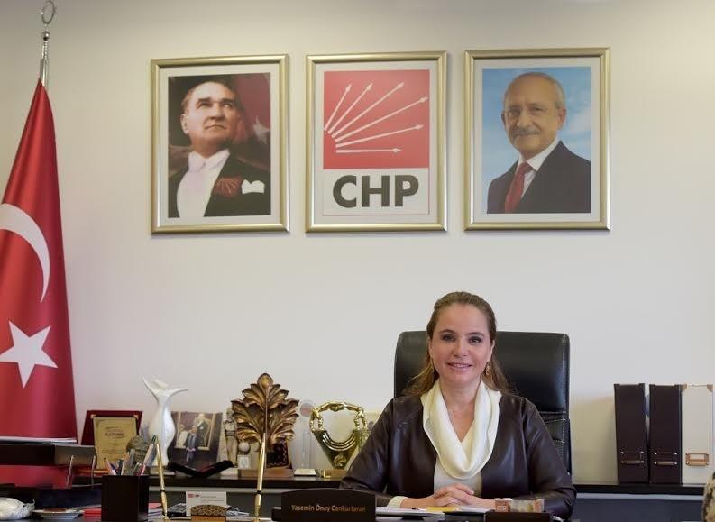 CHP's Deputy Chairwoman Yasemin u00d6ney Cankurtaran at her office in CHP's headquarters in Ankara (IHA Photo)