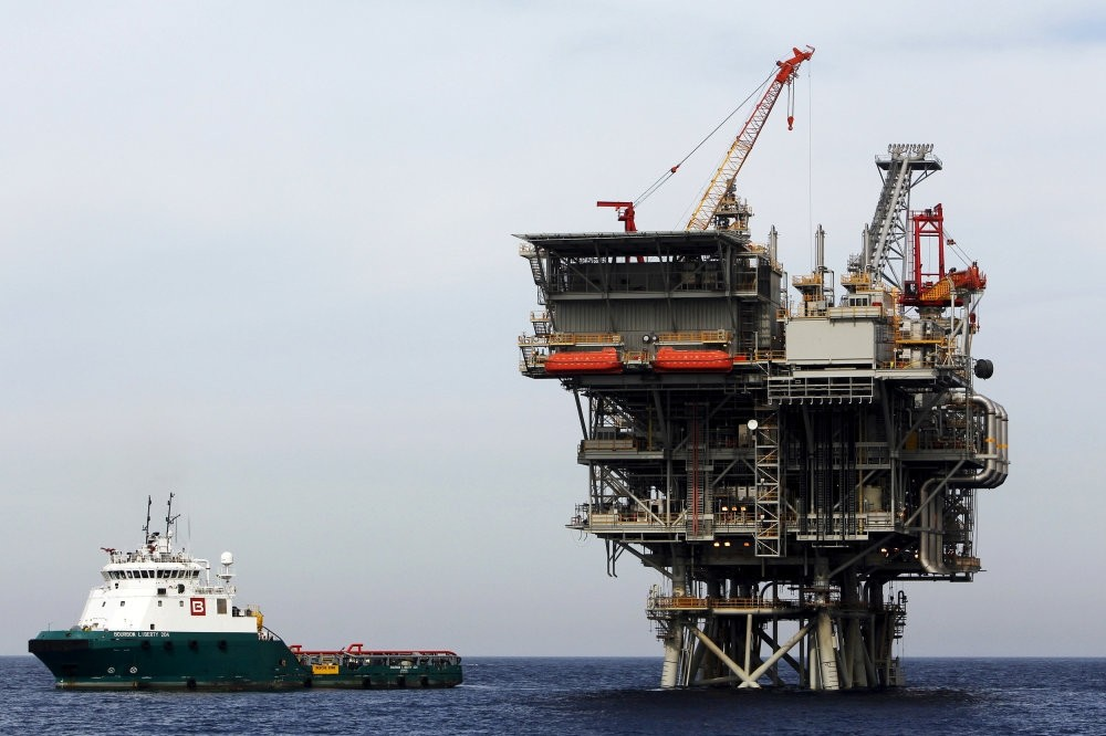 An Israeli gas platform, controlled by a U.S.-Israeli energy group, is seen in the Mediterranean Sea.