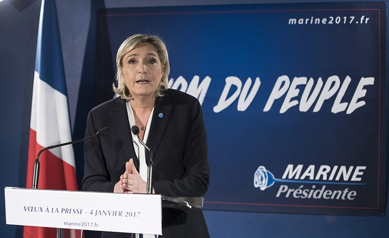 Leader of France's far-right party Front National (FN) Marine Le Pen, delivers a statement on her new year wishes to the press at her campaign headquarters in Paris, France, 04 January 2017. (EPA Photo)