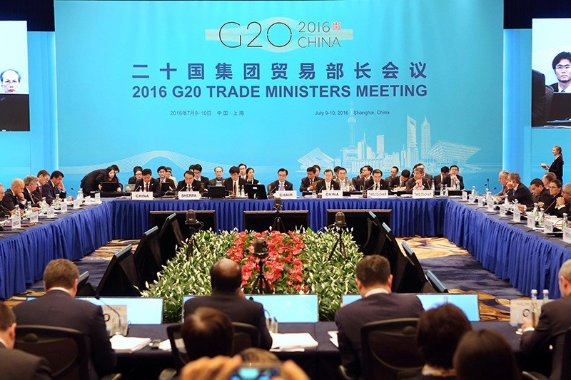 Trade ministers and delegates attend the opening session of the G20 Trade Ministers Meeting in Shanghai Saturday, July 9, 2016. (AP Photo)