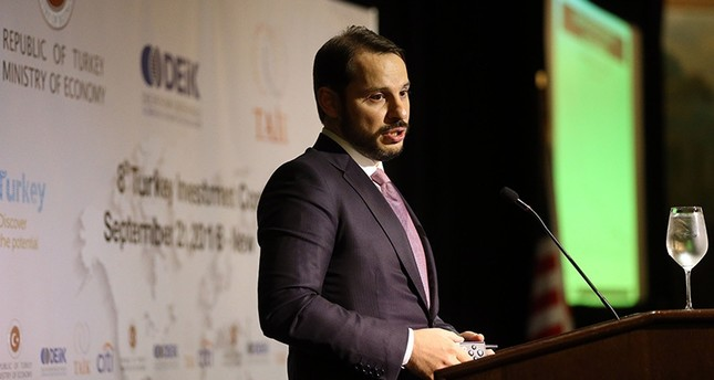 Energy Minister Berat Albayrak speak during the 8th of Turkey Investment Conference held in JW Marriott Essex House Hotel in New York, Sept. 21, 2016. (Anadolu Agency Photo)