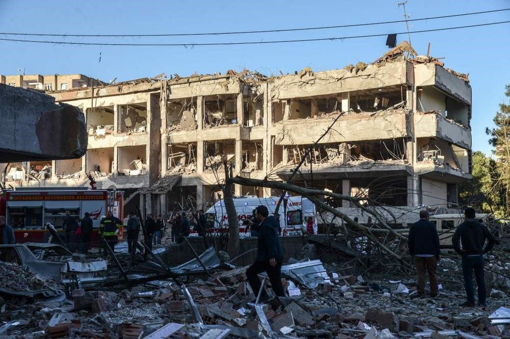 Damaged buildings on the explosion site after a blast by the PKK terror group in Turkey's southeastern city of Diyarbaku0131r, Nov. 4, 2016.