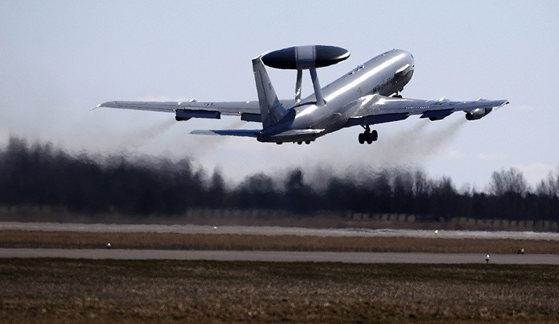 NATO Airborne Warning and Control System (AWACS) aircraft take off during the Lithuanian - NATO air force exercise at the Siauliai airbase some 230 km. (AP Photo)