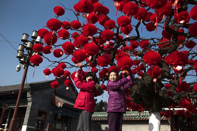 Chinese children pose for a photograph beside a lantern tree display ahead of the Lunar New Year in Beijing on January 24, 2017. (AFP Photo)