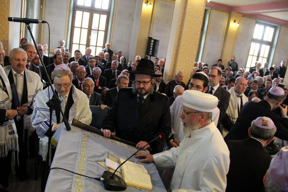 Jewish community members pray in a synagogue in Edirne. Turkey hosts a diverse population of non-Muslim communities including Armenians, Greeks and Jews.
