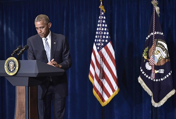 US President Barack Obama speaks on the recent shootings in the US, at a hotel in Warsaw, on July 8, 2016. (AFP Photo)