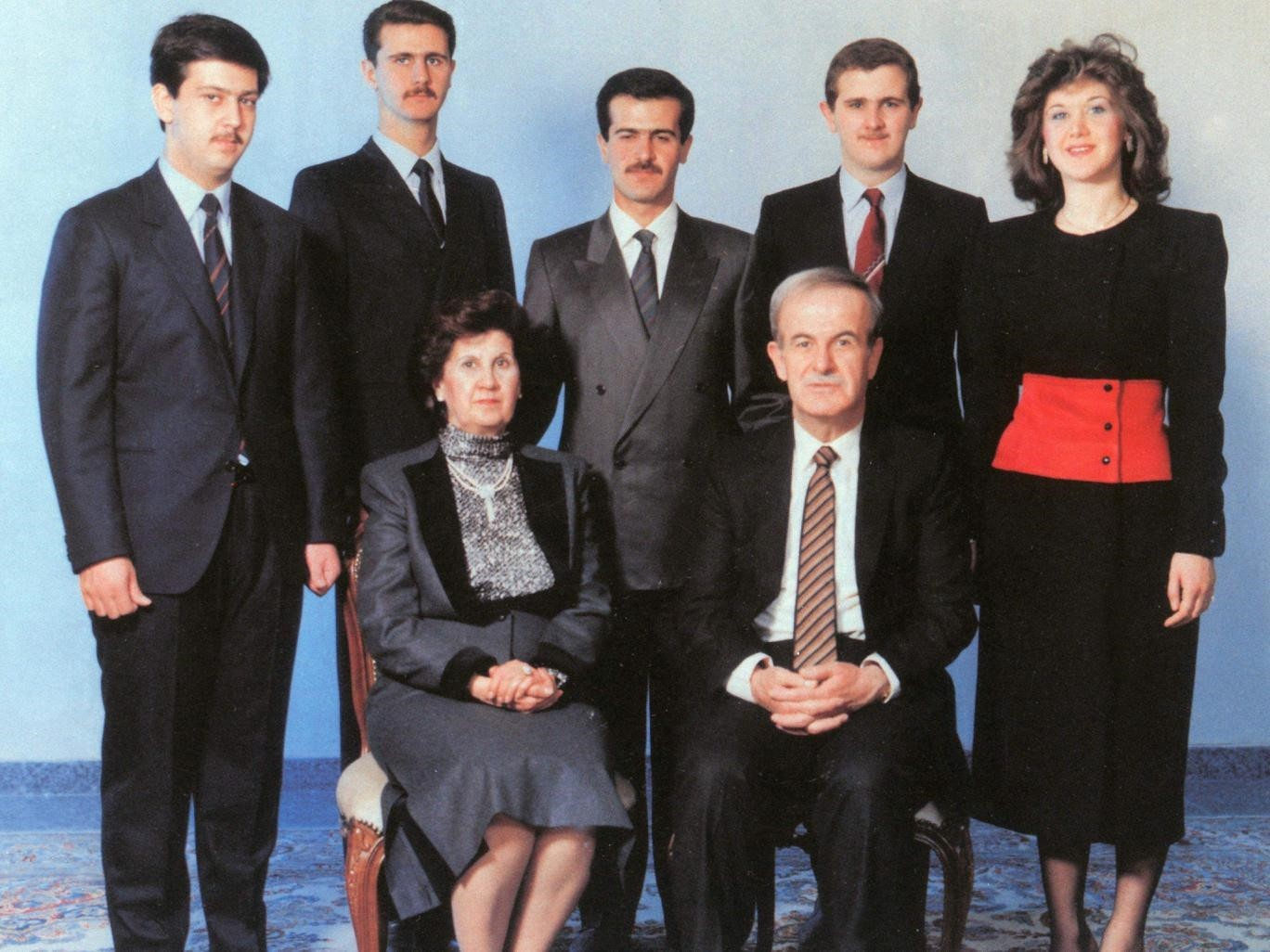 The Assad family. Hafez Assad and his wife Anisa Makhlouf. On the back row, from left to right: Maher, Bashar, Basil, Majid, and Bushra Assad.