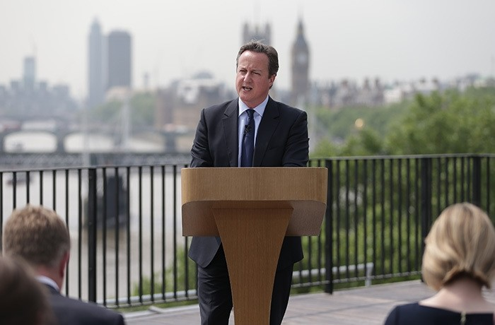 British Prime Minister David Cameron delivers a speech on the upcoming EU referendum at the Savoy Place in London on June 7, 2016. (AFP Photo)