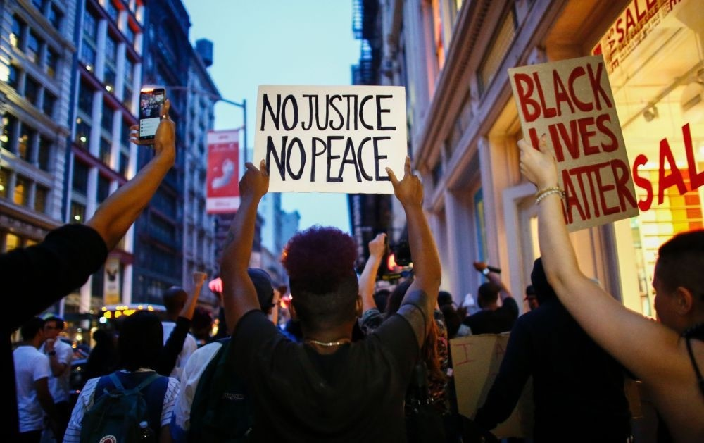 People shout slogans during a protest in support of the Black Lives Matter movement in New York, July 9.