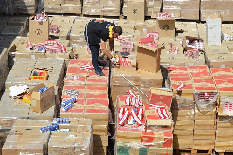 A customs official inspecting smuggled cigarette packages (Sabah Photo)
