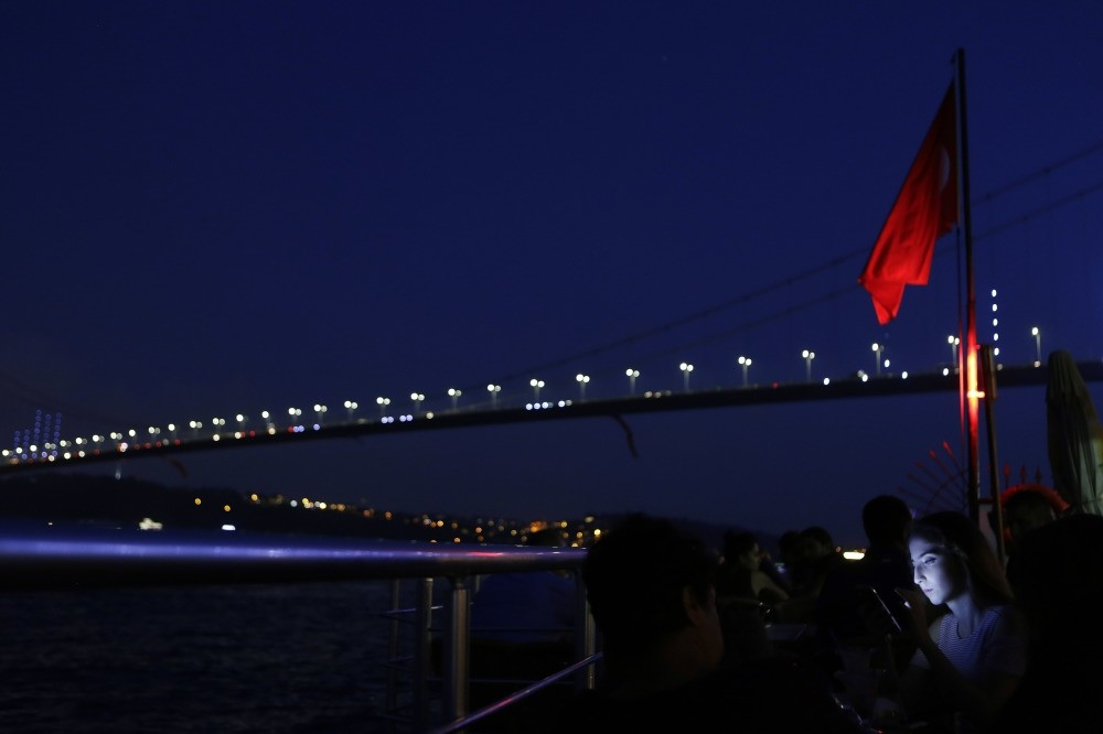 The bridge spanning the Bosphorus, known until recently as ,Bosporus Bridge,, is renamed following the failed coup attempt as ,15 of July Martyrs, bridge, Istanbul, Aug. 2.