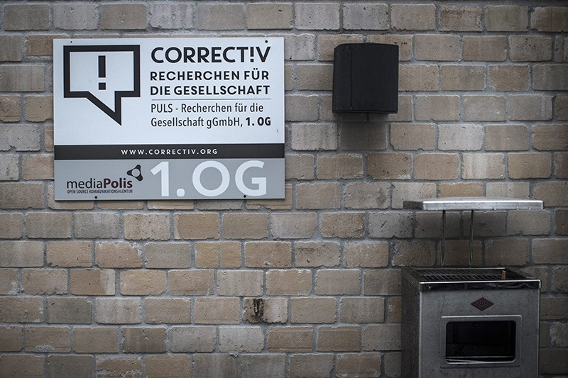 A sign is fixed outside the offices of the research bureau Correctiv in Berlin, Germany, 15 January 2017. US company Facebook has announced a cooperation with Correctiv to prevent the spread of 'fake news' on the social media platform. (EPA Photo)