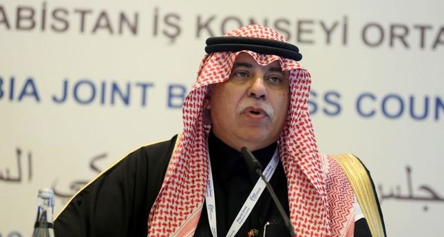 Saudi Minister Al-Qasabi speaks at a conference in Istanbul.