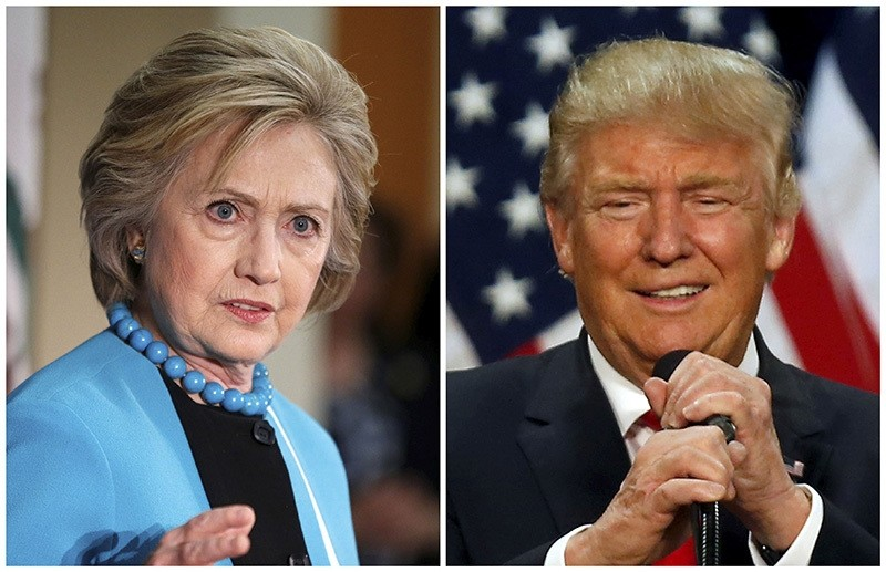 A combination photo shows U.S. Democratic presidential candidate Hillary Clinton (L) and Republican U.S. presidential candidate Donald Trump (R) in Los Angeles, California on May 5 (Reuters Photo)