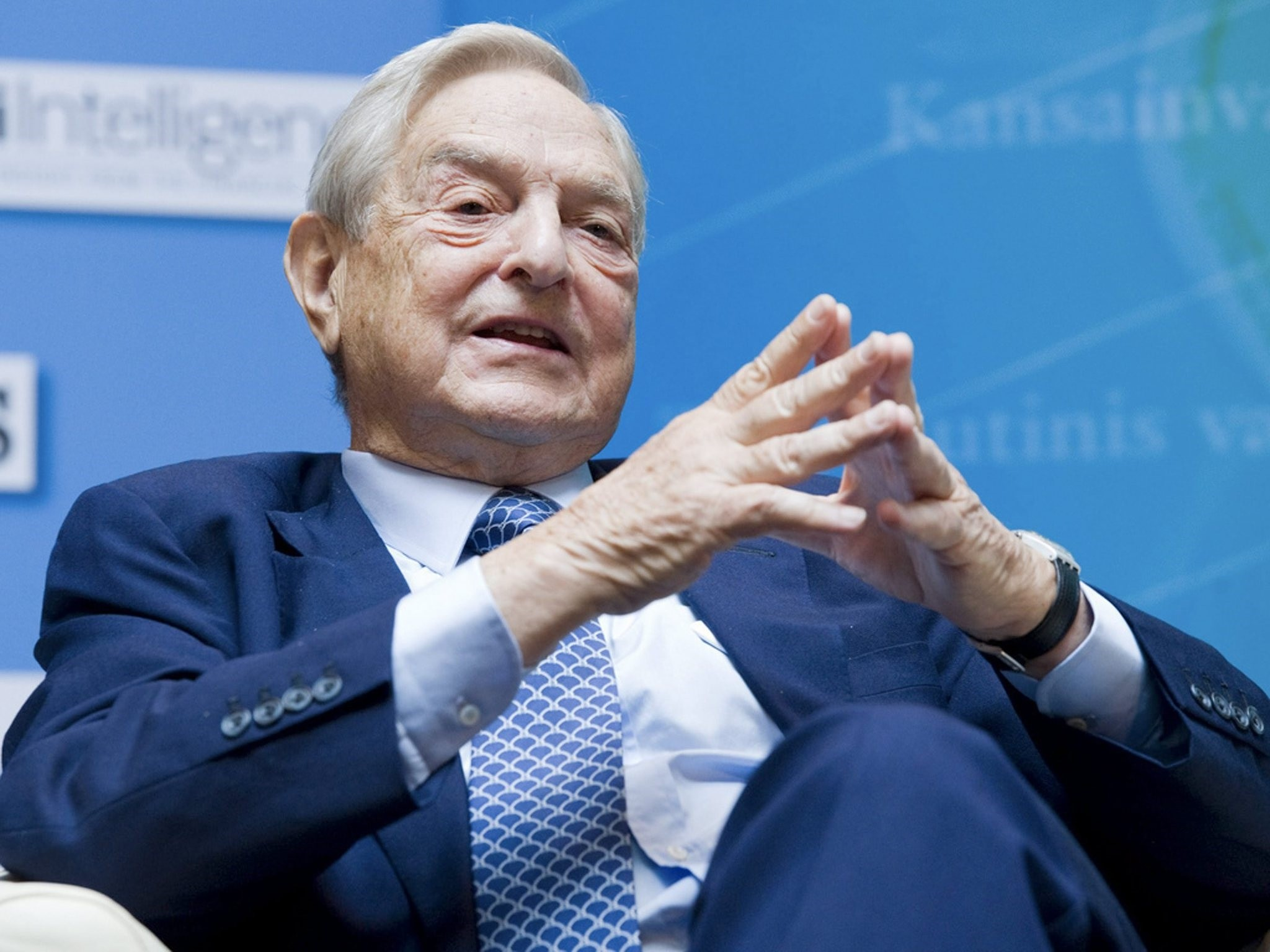 George Soros, Chairman Soros Fund Management answers a question during the IMF Seminar. (FILE Photo)