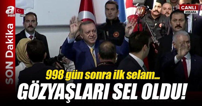 Cumhurbaşkanı Erdoğan salonda böyle karşılandı